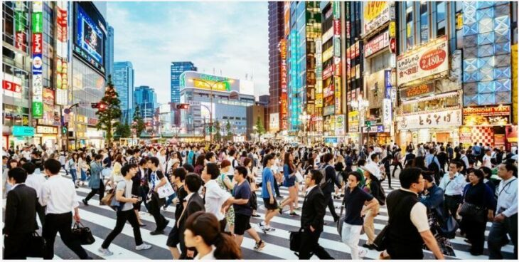 Amaze the hustle and bustle of people at the Shibuya intersection